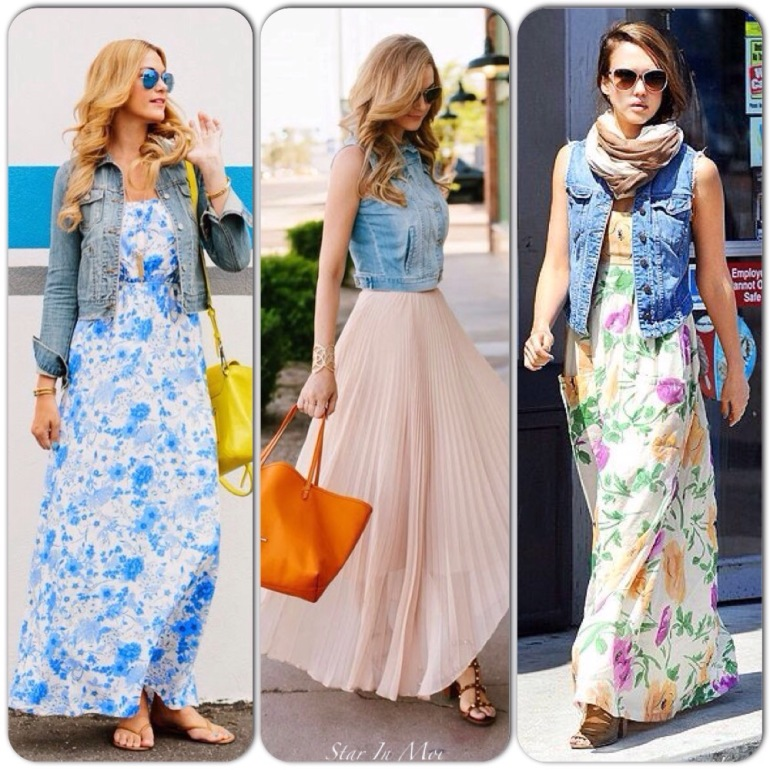 Image result for denim jackets with maxi dress